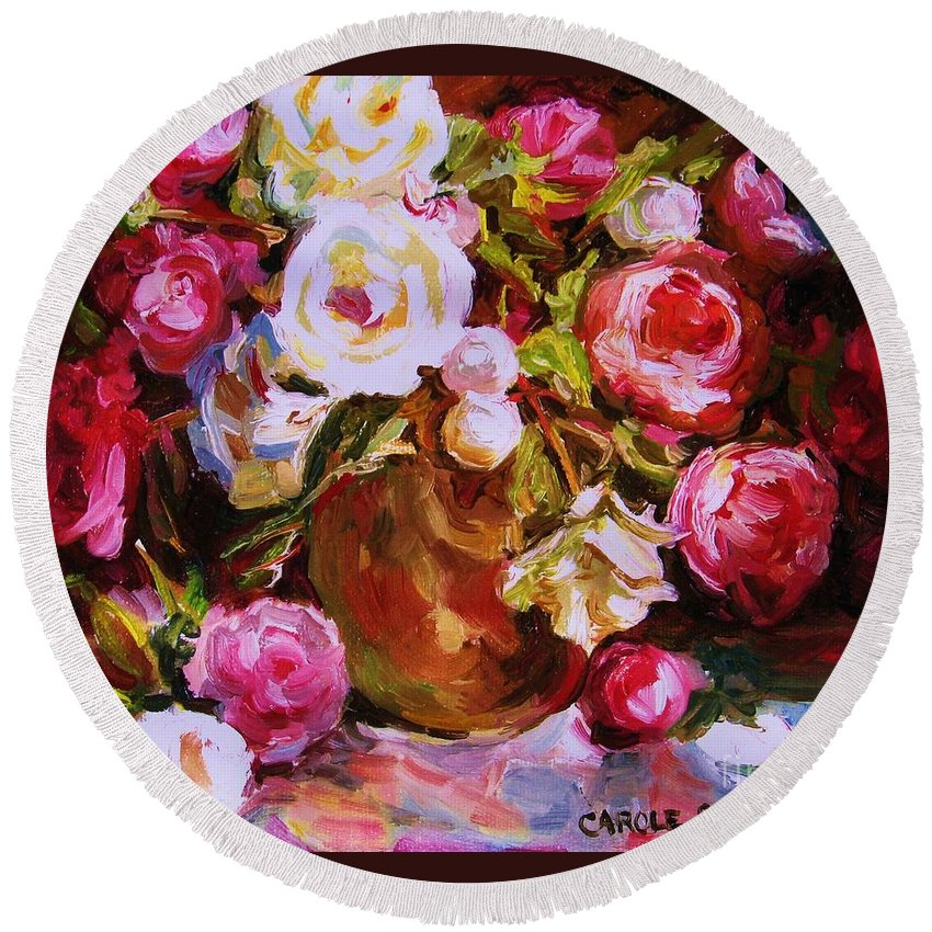 Roses Round Beach Towel featuring the painting Beautiful Bouquet by Carole Spandau