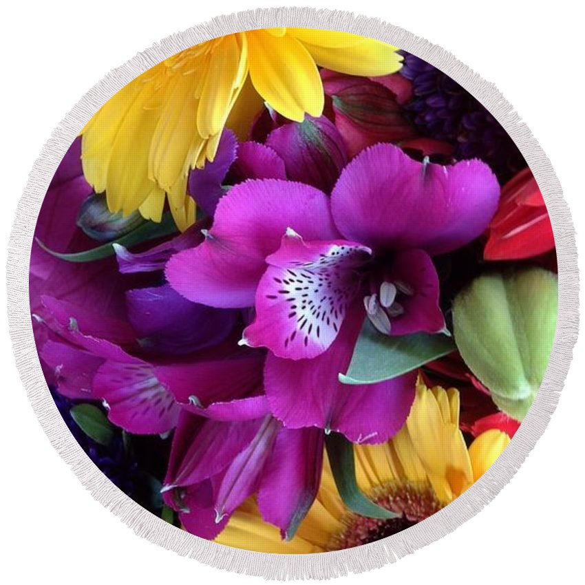 Beautiful Bouquet Round Beach Towel featuring the photograph Beautiful Bouquet by By Divine Light