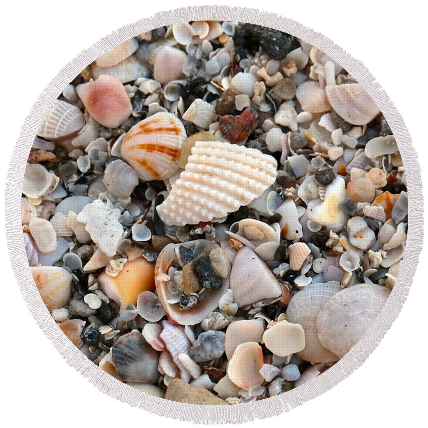 Shells Round Beach Towel featuring the photograph Beautiful Broken Shells by Carol Groenen