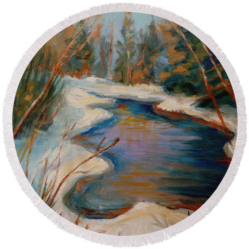 Beautiful Brook In Winter Round Beach Towel featuring the painting Beautiful Brook In Winter by Carole Spandau
