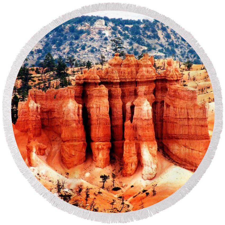National Parks Round Beach Towel featuring the photograph Beautiful Bryce by Judy Nelson