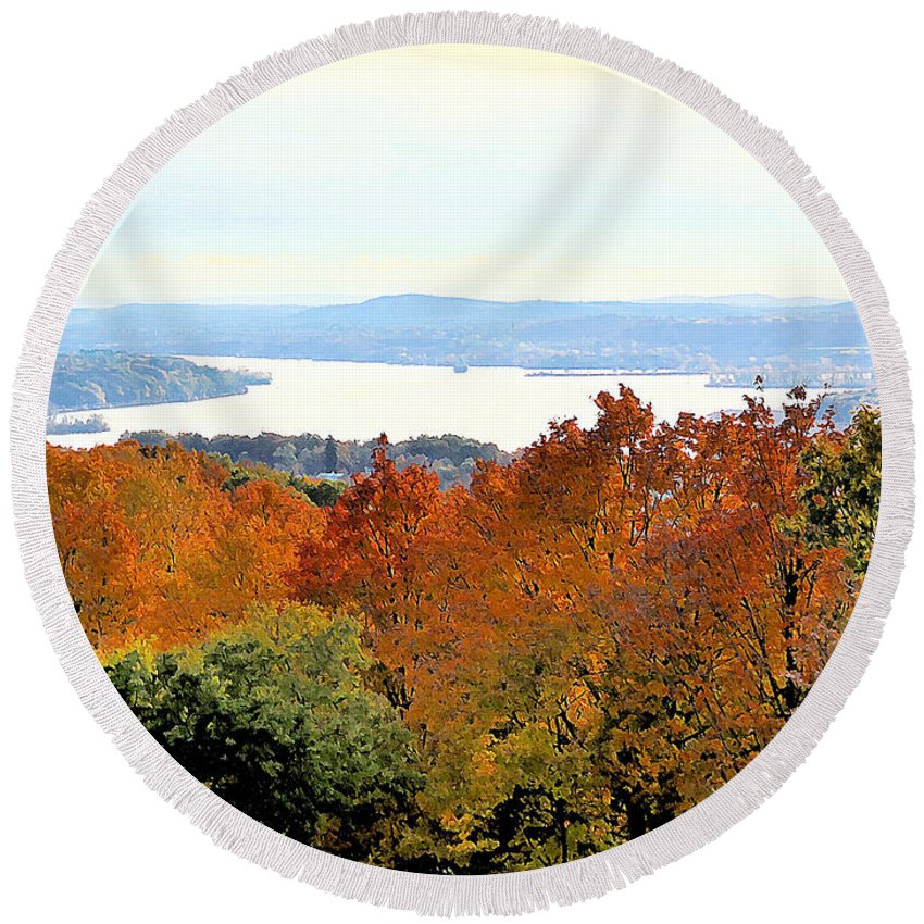 Beautiful Colors Of Autumn Landscape Round Beach Towel featuring the painting Beautiful Colors Of Autumn Landscape 2 by Jeelan Clark