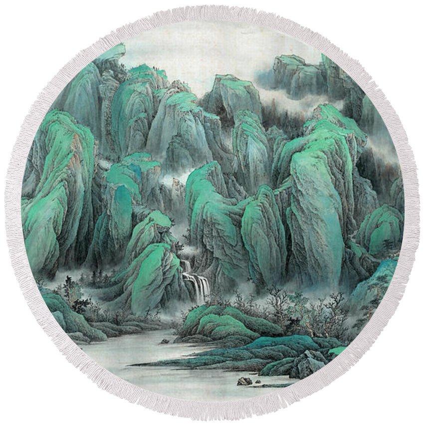 Beautiful Country Scene Round Beach Towel featuring the painting Beautiful Country Scene II by Dong Xiyuan