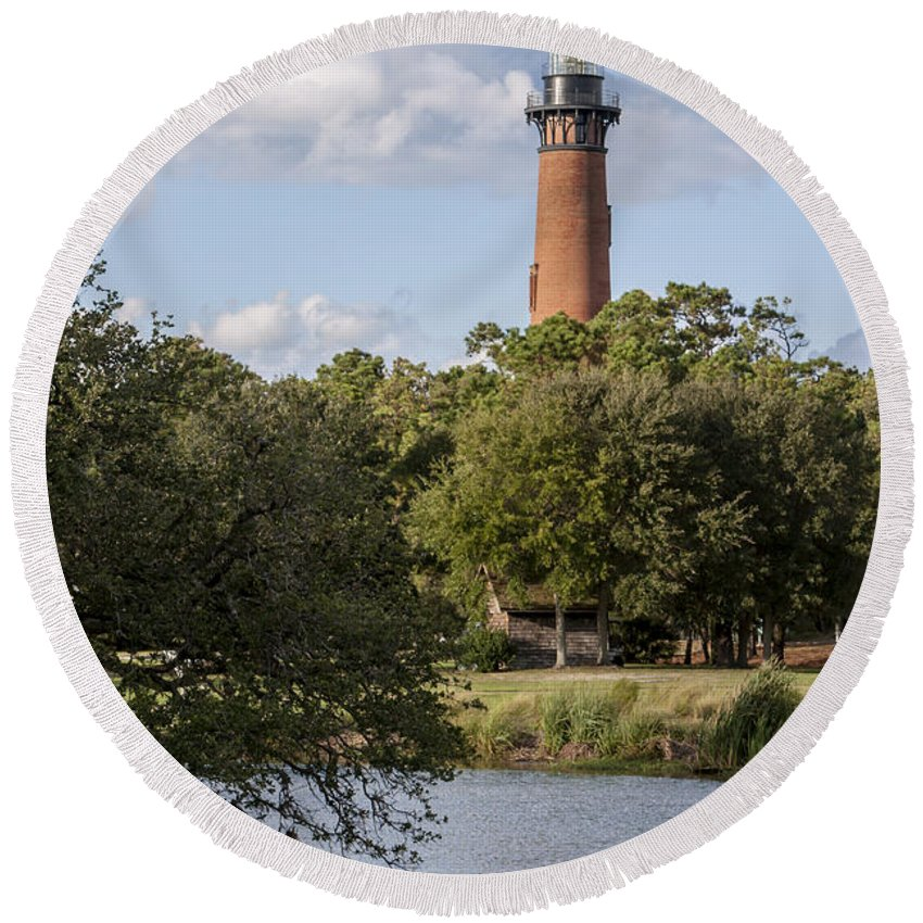 Architecture Round Beach Towel featuring the photograph Beautiful Day At Currituck Beach Lighthouse by Liza Eckardt