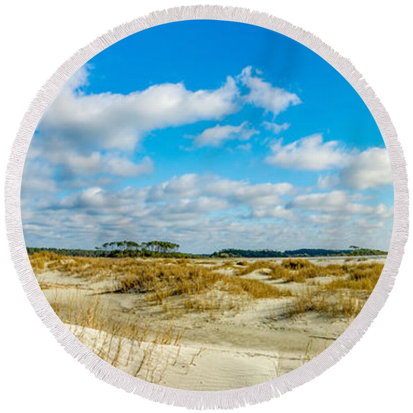 Seascape Round Beach Towel featuring the photograph Beautiful Day by David Smith