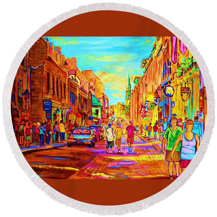 Old Montreal Round Beach Towel featuring the painting Beautiful Day In The City by Carole Spandau
