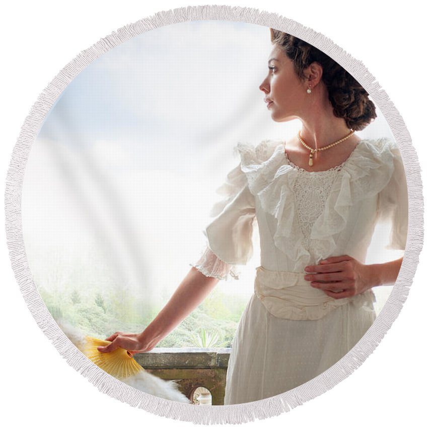 Edwardian Round Beach Towel featuring the photograph Beautiful Edwardian Woman In The Garden by Lee Avison
