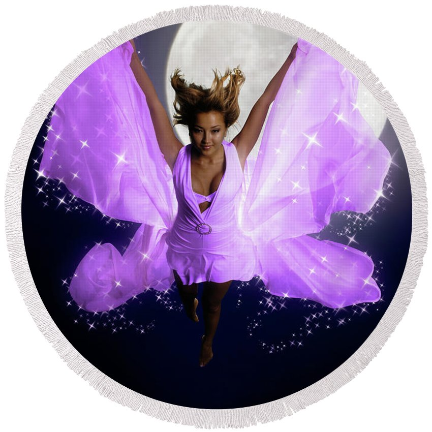 Woman Round Beach Towel featuring the photograph Beautiful Fairy by Maxim Images Prints
