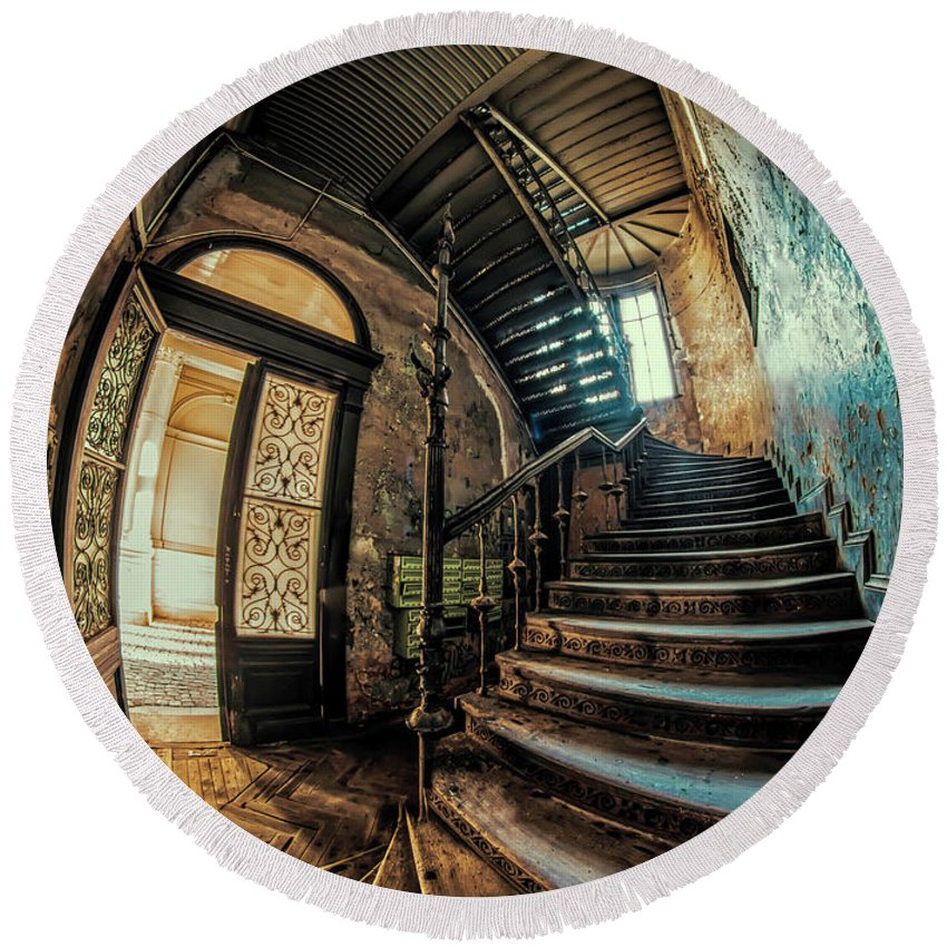 Staircase Round Beach Towel featuring the photograph Beautiful Forgotten Staircase by Jaroslaw Blaminsky