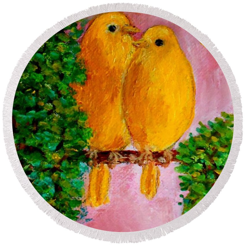 Birds Art Prints Round Beach Towel featuring the painting Beautiful Friendship by Konstantinos Charalampopoulos