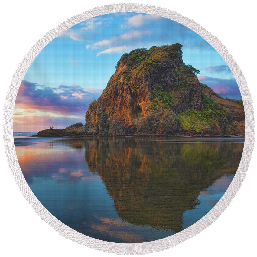 Lion's Rock Round Beach Towel featuring the photograph Beautiful Lion by Photopoint Art