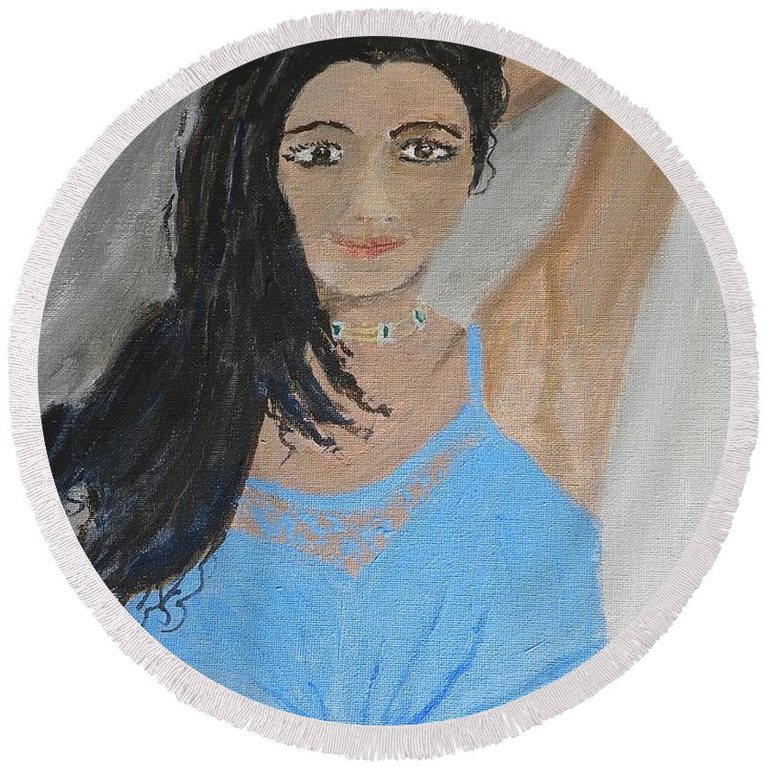 Pamela-meredith Round Beach Towel featuring the painting Beautiful Model by Pamela Meredith
