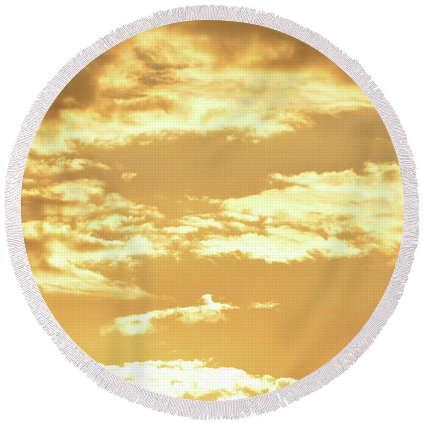 Beautiful Morning Sky Prints Round Beach Towel featuring the photograph Beautiful Morming Sky by Ruth Housley