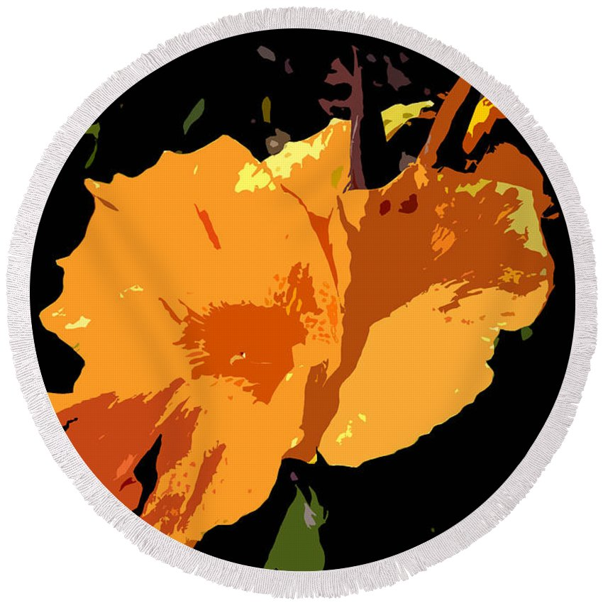 Flower Round Beach Towel featuring the photograph Beautiful Orange Work Number 19 by David Lee Thompson