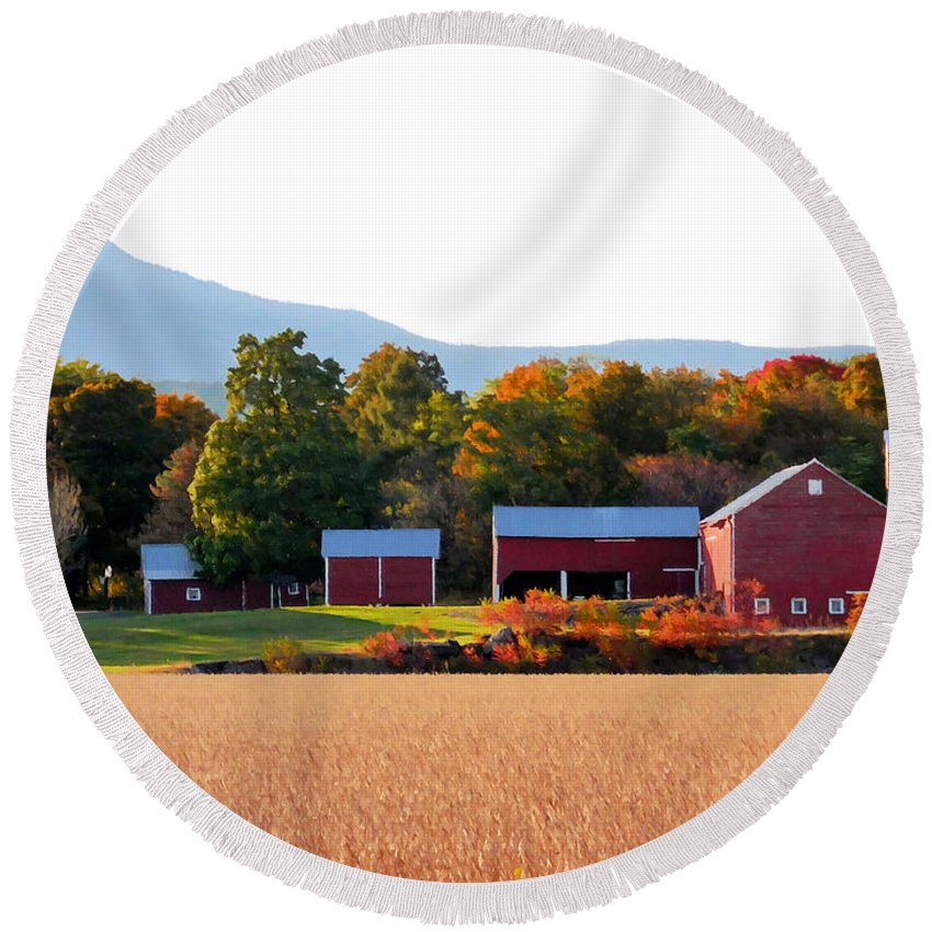 Beautiful Red Barn Round Beach Towel featuring the painting Beautiful Red Barn 4 by Jeelan Clark