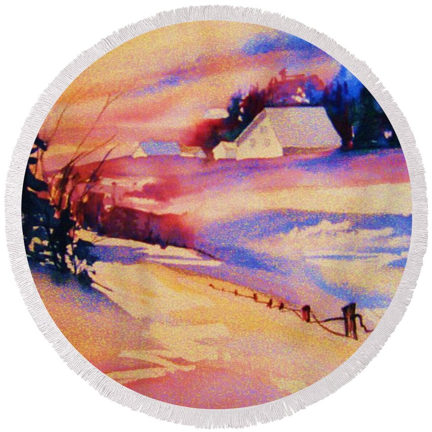 Winterscene Round Beach Towel featuring the painting Beautiful Serenity by Carole Spandau