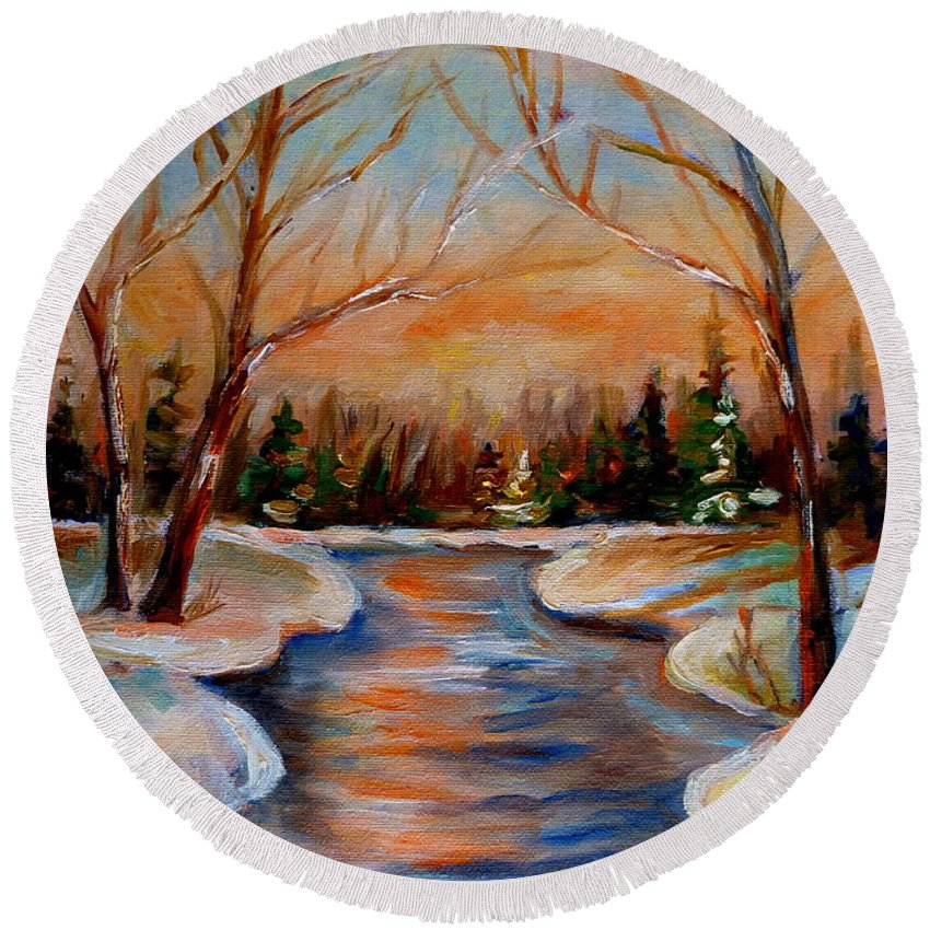 Round Beach Towel featuring the painting Beautiful Spring Thaw by Carole Spandau