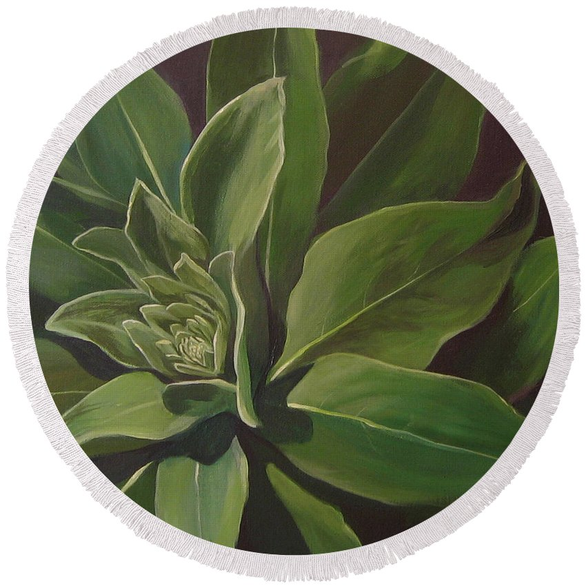 Closeup Of Mullein Plant Round Beach Towel featuring the painting Beautiful Stranger by Hunter Jay