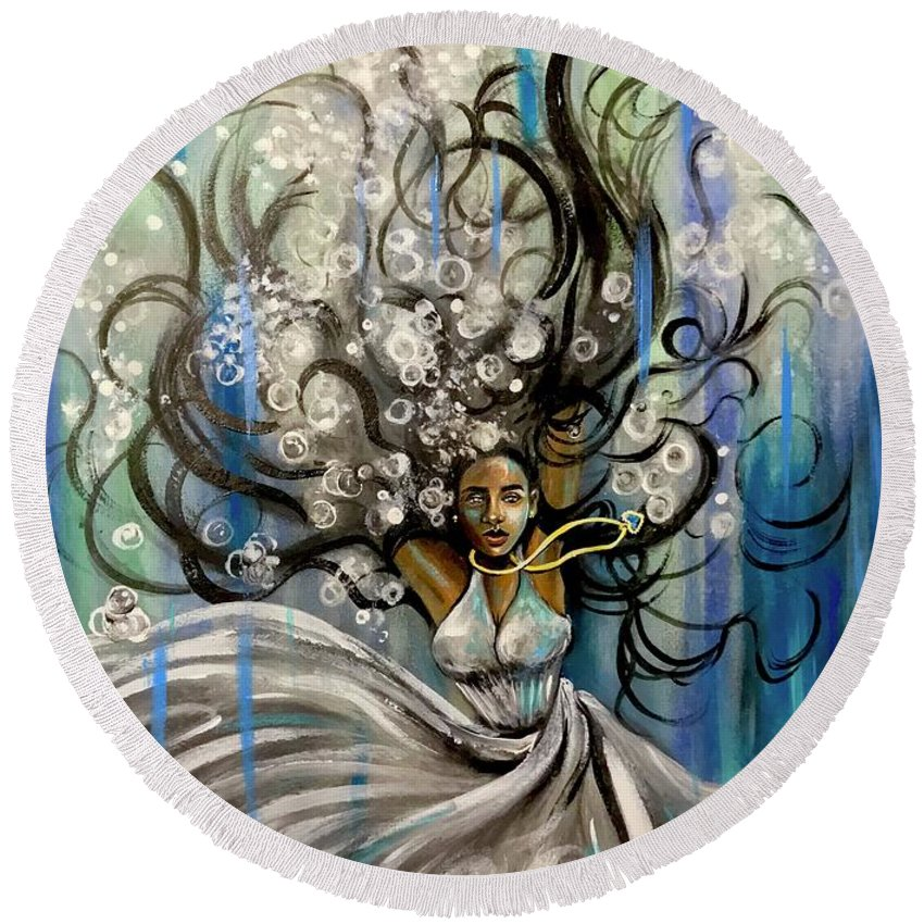 Artist_ria Round Beach Towel featuring the painting Beautiful Struggle by Artist RiA