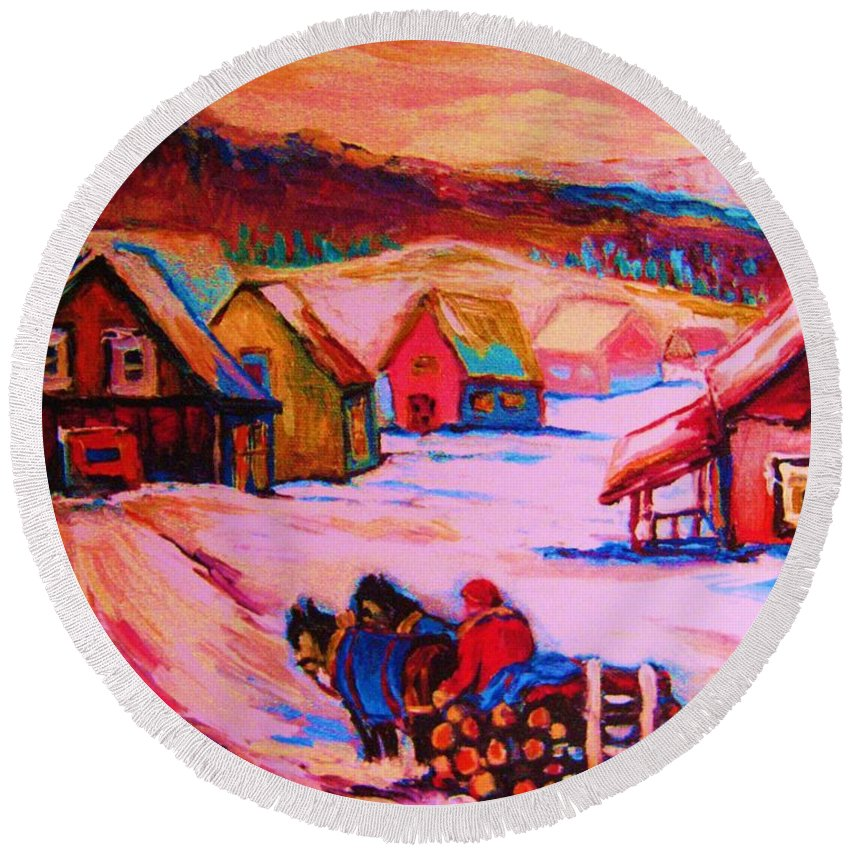 Winterscene Round Beach Towel featuring the painting Beautiful Village Ride by Carole Spandau
