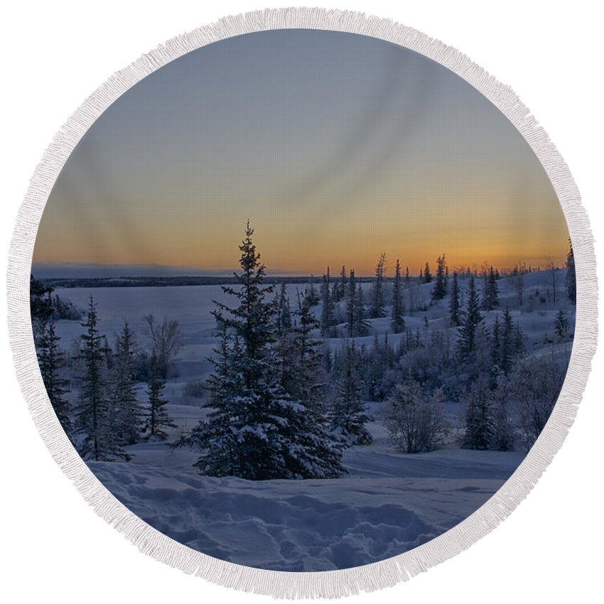 Snow Round Beach Towel featuring the photograph Beautiful Winter Sunrise by Brian Kamprath