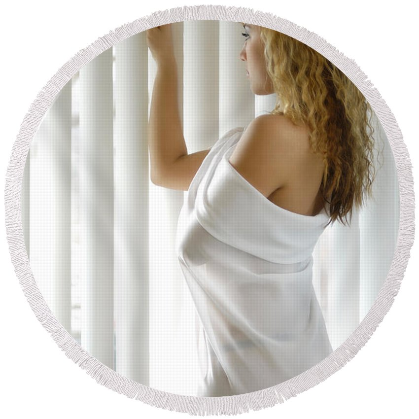 Window Round Beach Towel featuring the photograph Beautiful Woman Near A Window by Maxim Images Prints