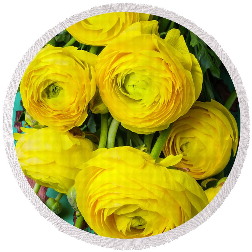 Yellow Round Beach Towel featuring the photograph Beautiful Yellow Ranunculus by Garry Gay