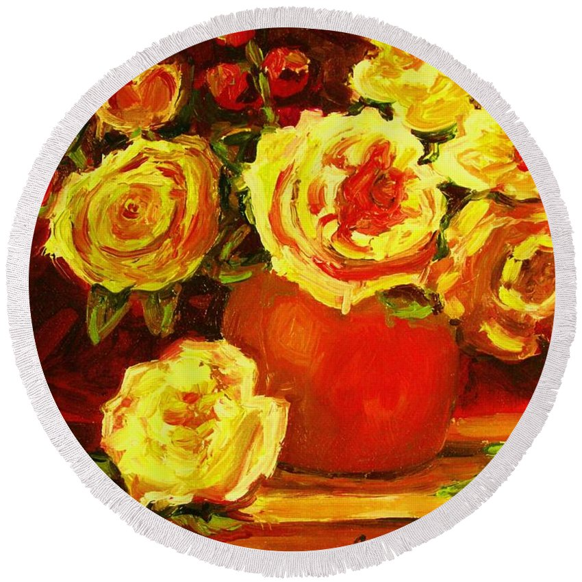 Roses Round Beach Towel featuring the painting Beautiful Yellow Roses by Carole Spandau