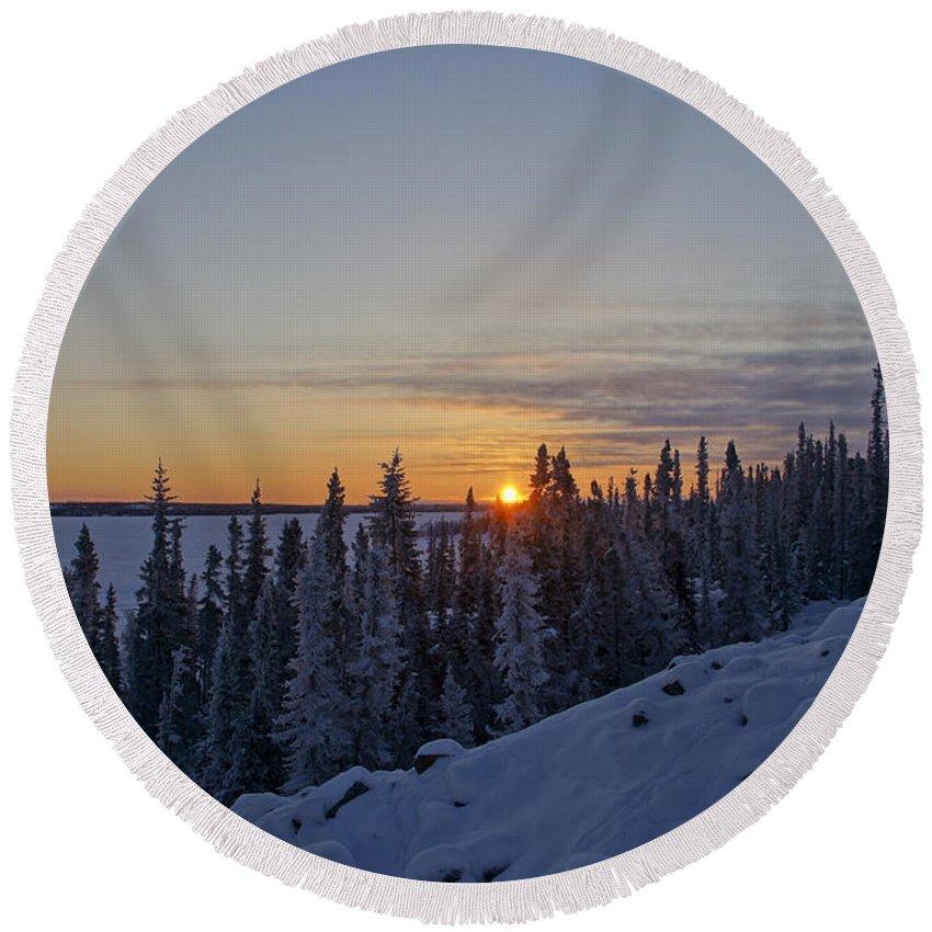 Snow Round Beach Towel featuring the photograph Beautiful Yellowknife Sunrise by Brian Kamprath