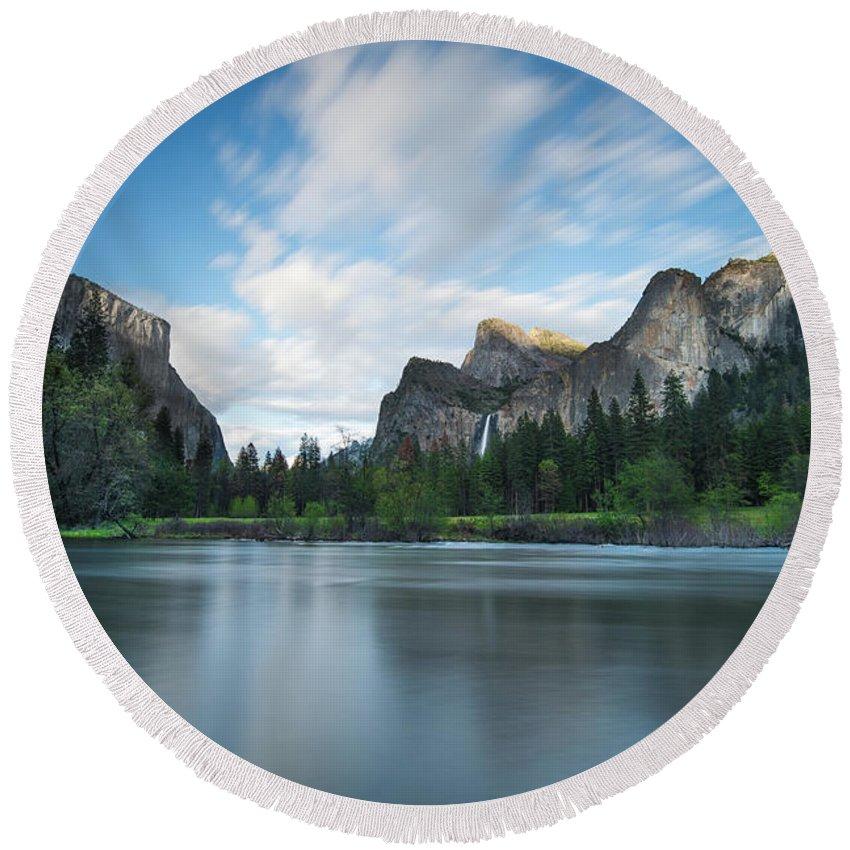 Yosemite Round Beach Towel featuring the photograph Beautiful Yosemite by Larry Marshall