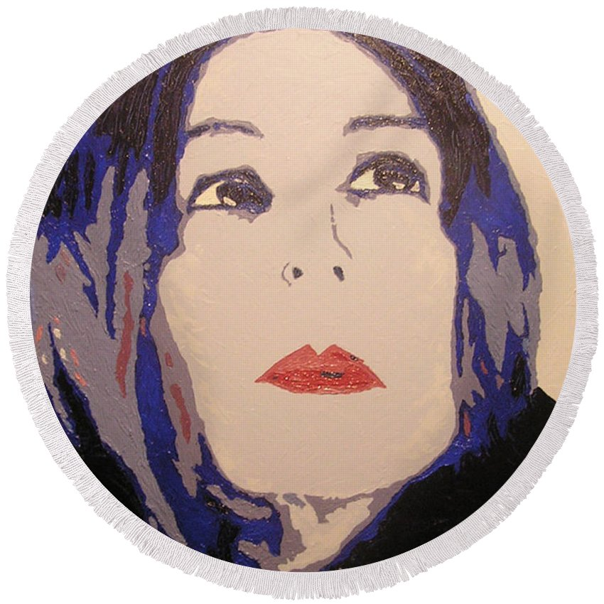 Portrait Round Beach Towel featuring the painting Beauty Beyond the Blue by Ricklene Wren