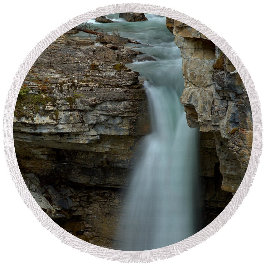 Stanley Falls Round Beach Towel featuring the photograph Beauty Creek Blue Falls by Adam Jewell