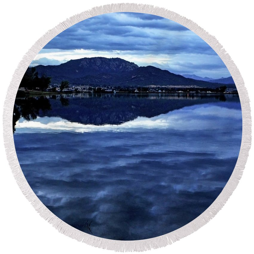 Lake Round Beach Towel featuring the photograph Beauty In The Dark by Third Eye Perspectives Photographic Fine Art