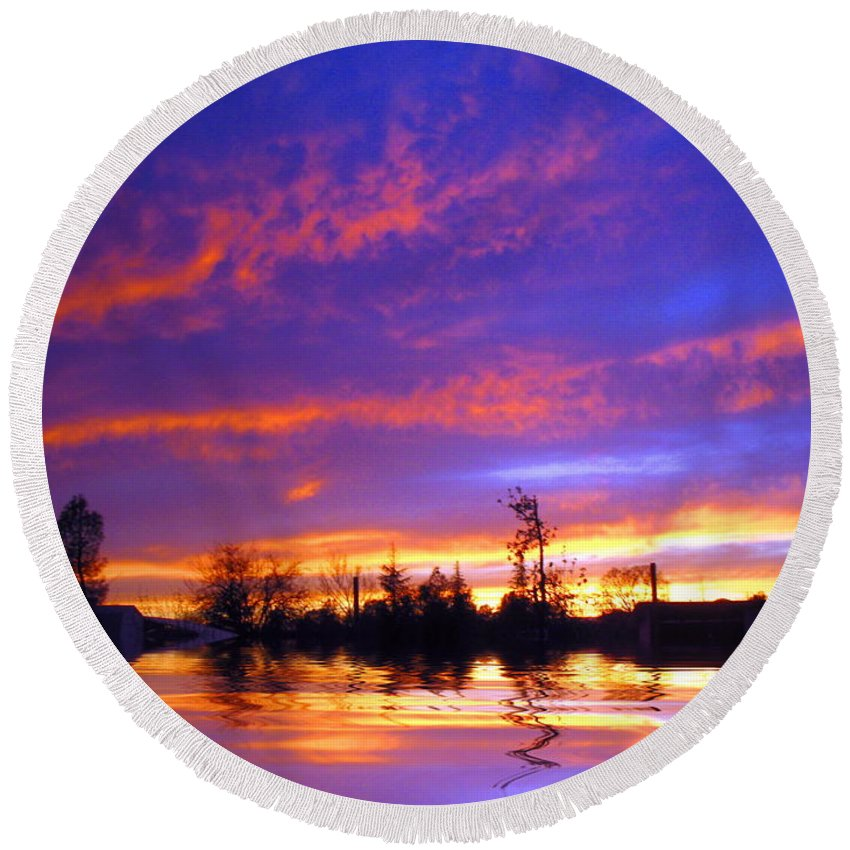 Sunset Round Beach Towel featuring the photograph Beauty In The Storm by Joyce Dickens