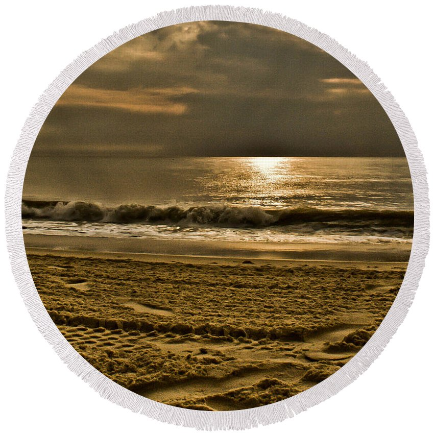 Sand Round Beach Towel featuring the photograph Beauty Of A Day by Trish Tritz