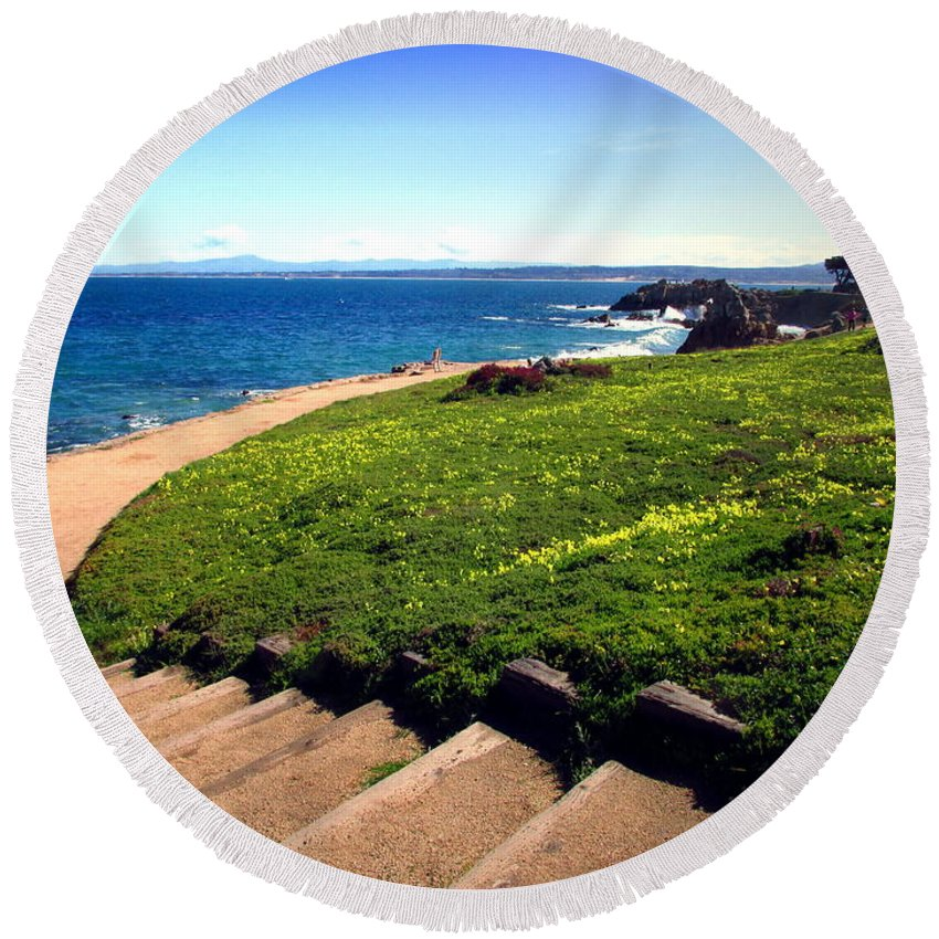 Pacific-grove Round Beach Towel featuring the photograph Beauty Of The Pacific Grove Shoreline Two by Joyce Dickens
