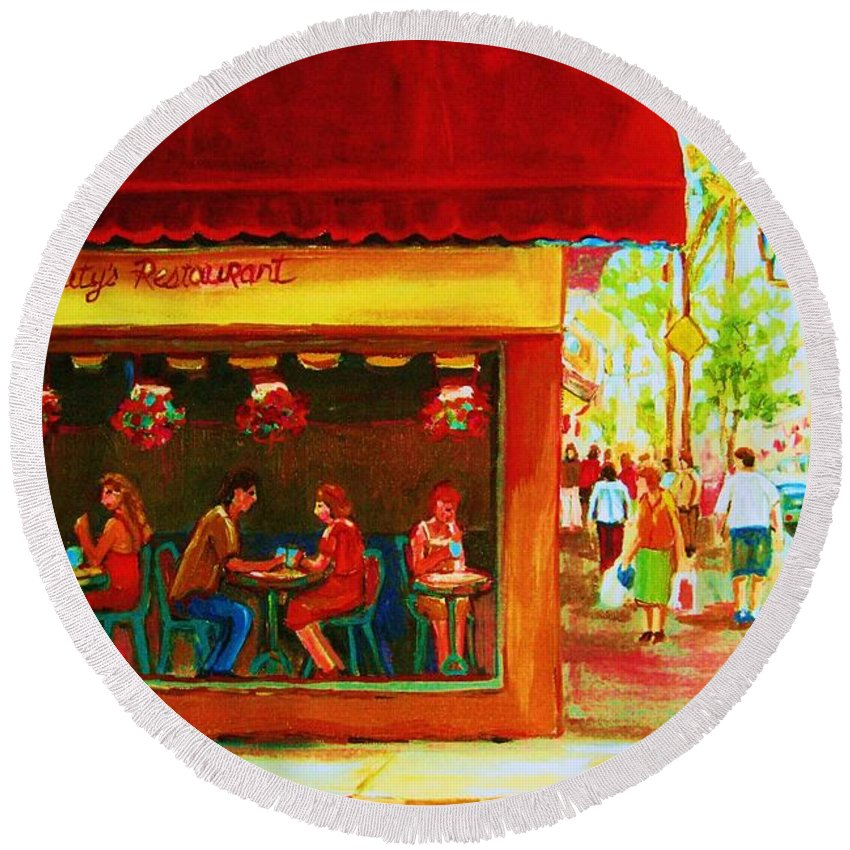 Beautys Cafe Abd Luncheonette Round Beach Towel featuring the painting Beautys Cafe With Red Awning by Carole Spandau