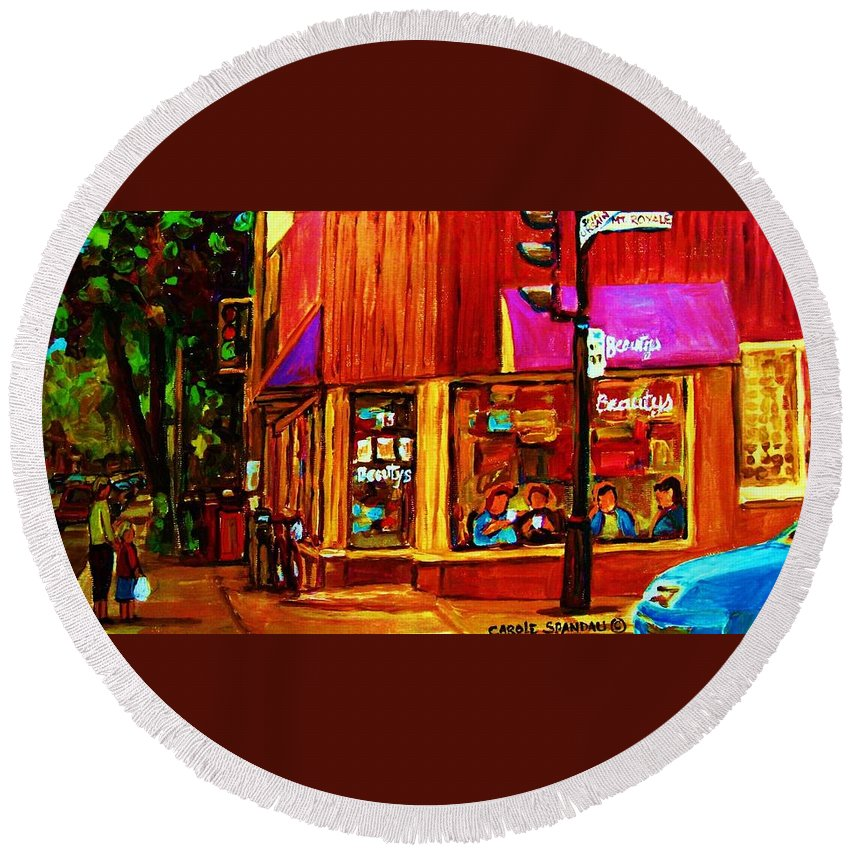 Beautys Restaurant Montreal Round Beach Towel featuring the painting Beautys Luncheonette by Carole Spandau