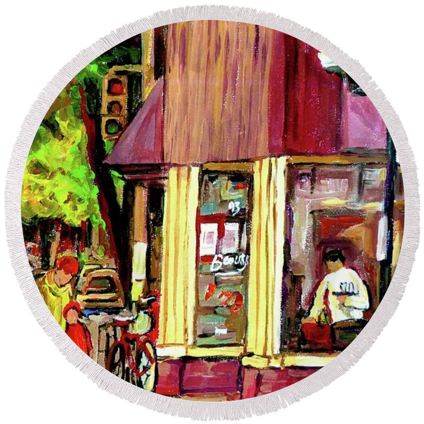 Beautys Luncheonette Montreal Diner Round Beach Towel featuring the painting Beautys Luncheonette Montreal Diner by Carole Spandau