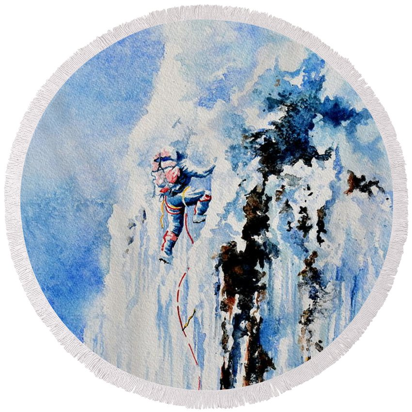 Ice Climbing Round Beach Towel featuring the painting Because It's There by Hanne Lore Koehler