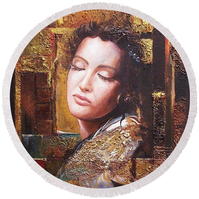 Female Portrait Round Beach Towel featuring the painting Because You Are Beautiful by Sinisa Saratlic