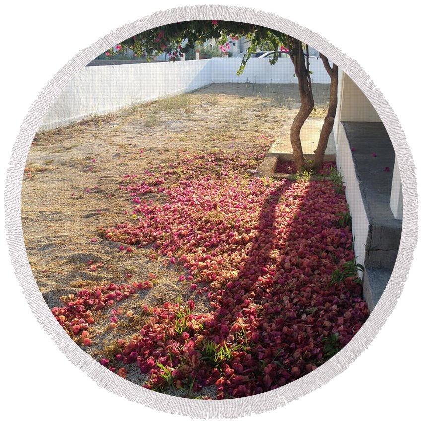 Bougainvillea Round Beach Towel featuring the photograph Bed Of Bougainvillea by Clay Cofer