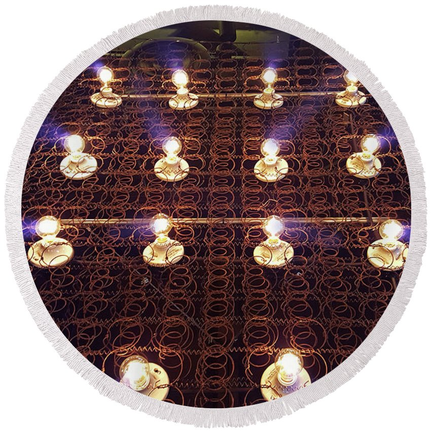 Lights Round Beach Towel featuring the photograph Bed Spring Lights by Christopher McKenzie