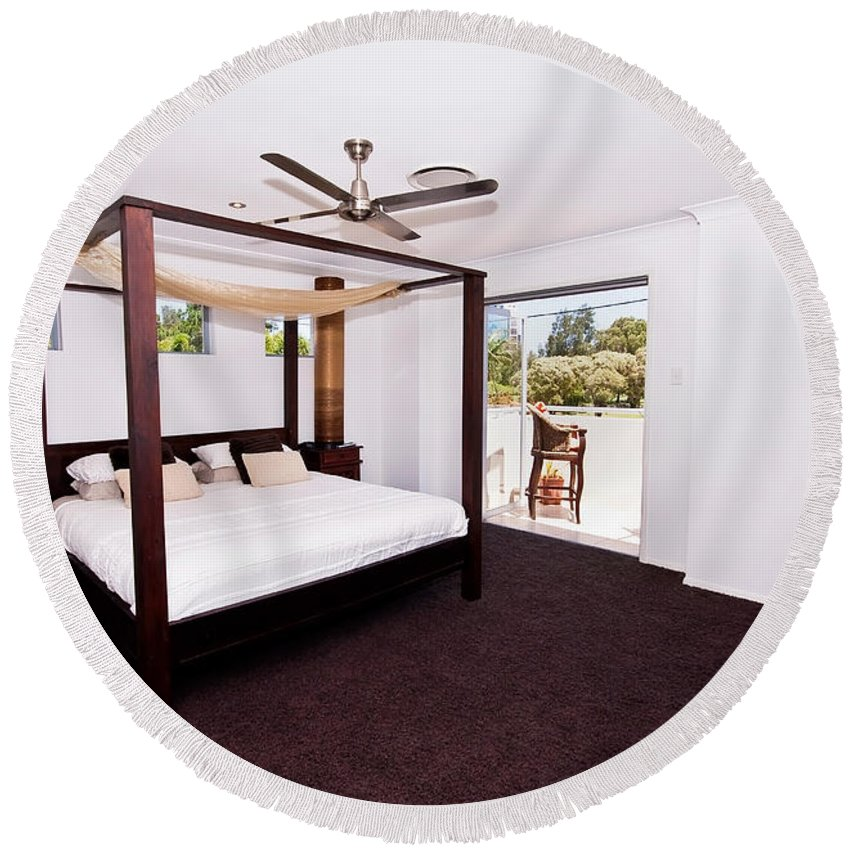 Canopy Round Beach Towel featuring the photograph Bed With Canopy by Darren Burton