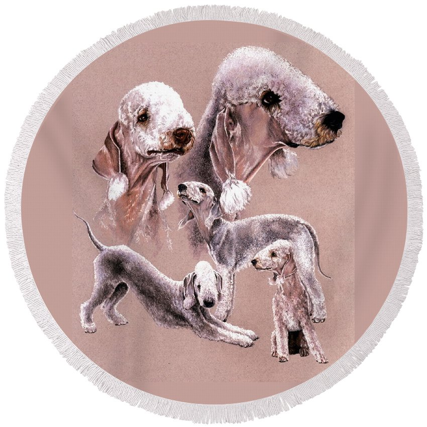 Dog Round Beach Towel featuring the drawing Bedlington Terrier by Barbara Keith