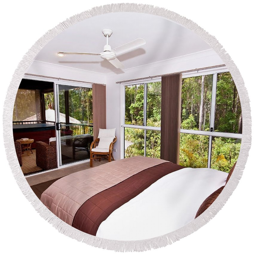 Brown Round Beach Towel featuring the photograph Bedroom With Brown And Cream Theme by Darren Burton