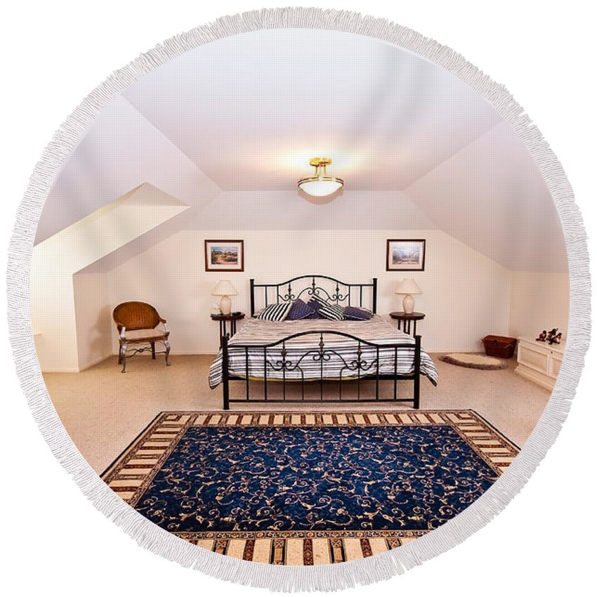 Loft Round Beach Towel featuring the photograph Bedroom With Sloping Ceiling by Darren Burton