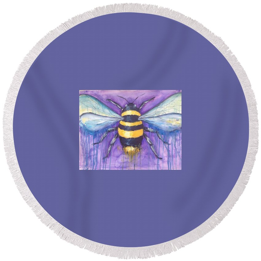 Bee Round Beach Towel featuring the painting Bee For A Little Bee by Kelly Margo