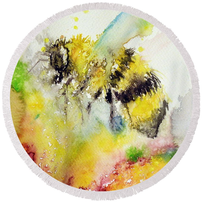 Bee Round Beach Towel featuring the painting Bee by Kovacs Anna Brigitta