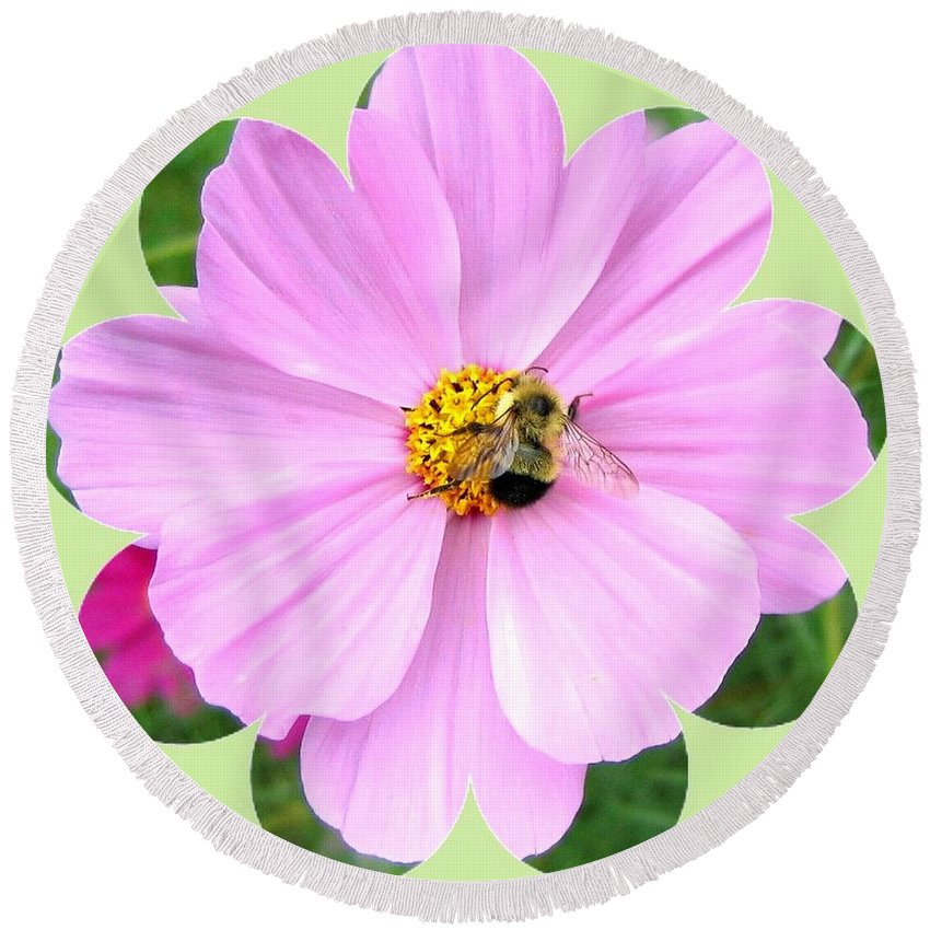 Photo Design Round Beach Towel featuring the photograph Bee-line 1 by Will Borden